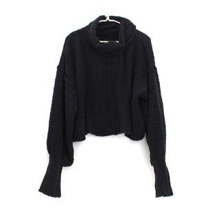 Free People Be Yours Black Chenille Pullover Sweater